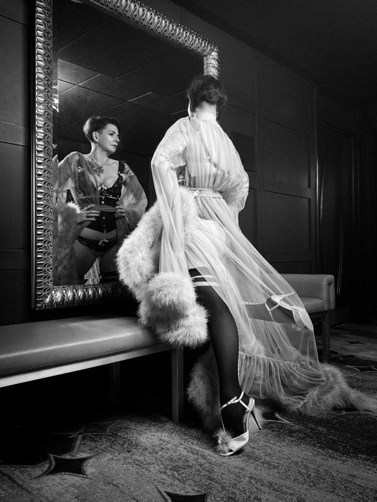 Anne's Virtual Birthday Boudoir Shoot wearing a Catherine Dlish Robe © UK Boudoir Photographer Tigz Rice Ltd 2021. https://www.tigzrice.com