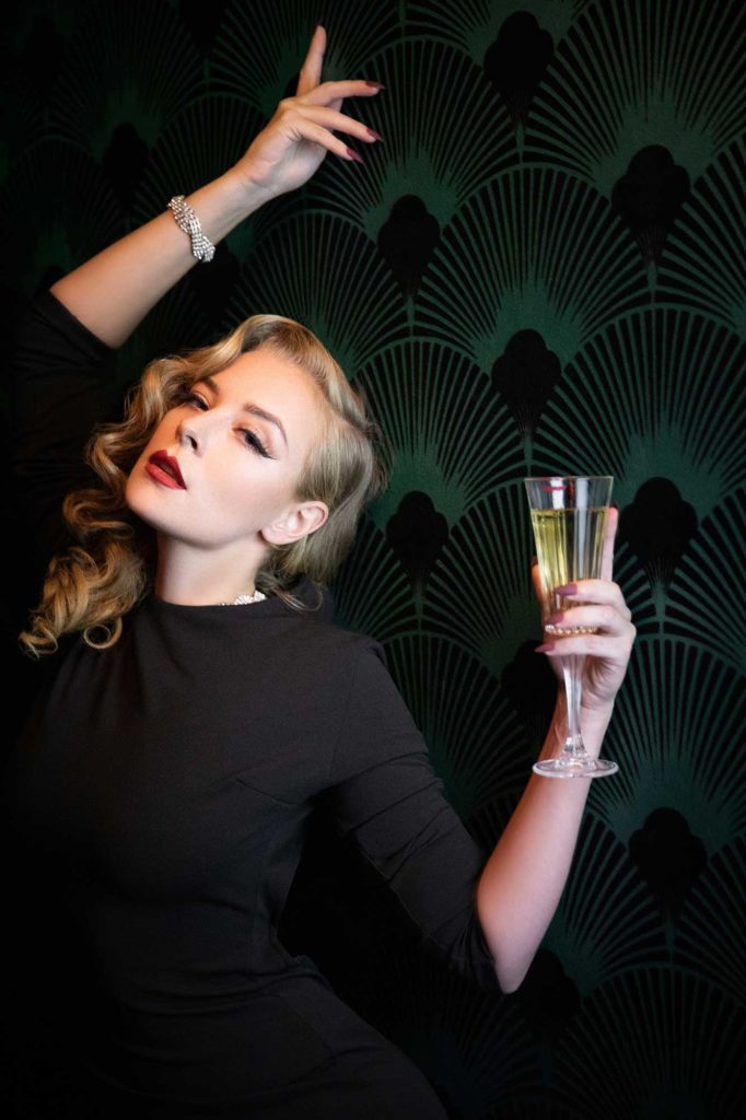 New Year Intentions - Blossom and Buttercups drinks Champagne at Fontaine's Art Deco bar in London