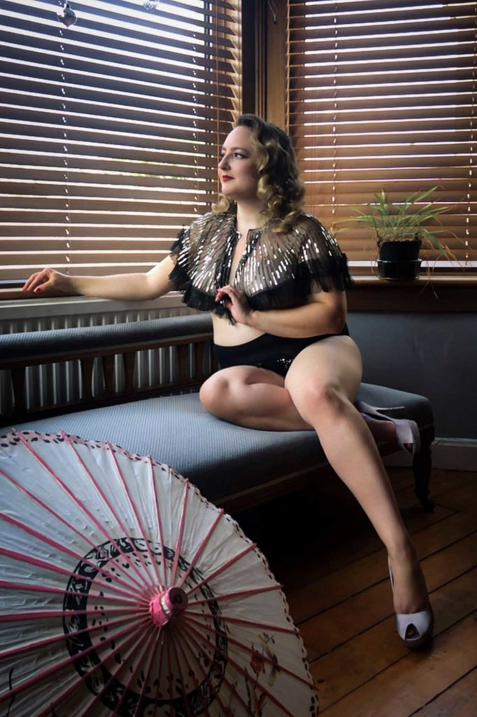 Rachael Coutts wears true vintage for a virtual boudoir shoot with Tigz Rice