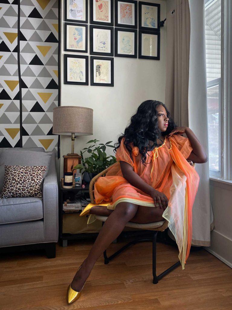 Chicago Burlesque Performer Shimmy LaRoux Virtual Boudoir Shoot © UK burlesque photographer Tigz Rice