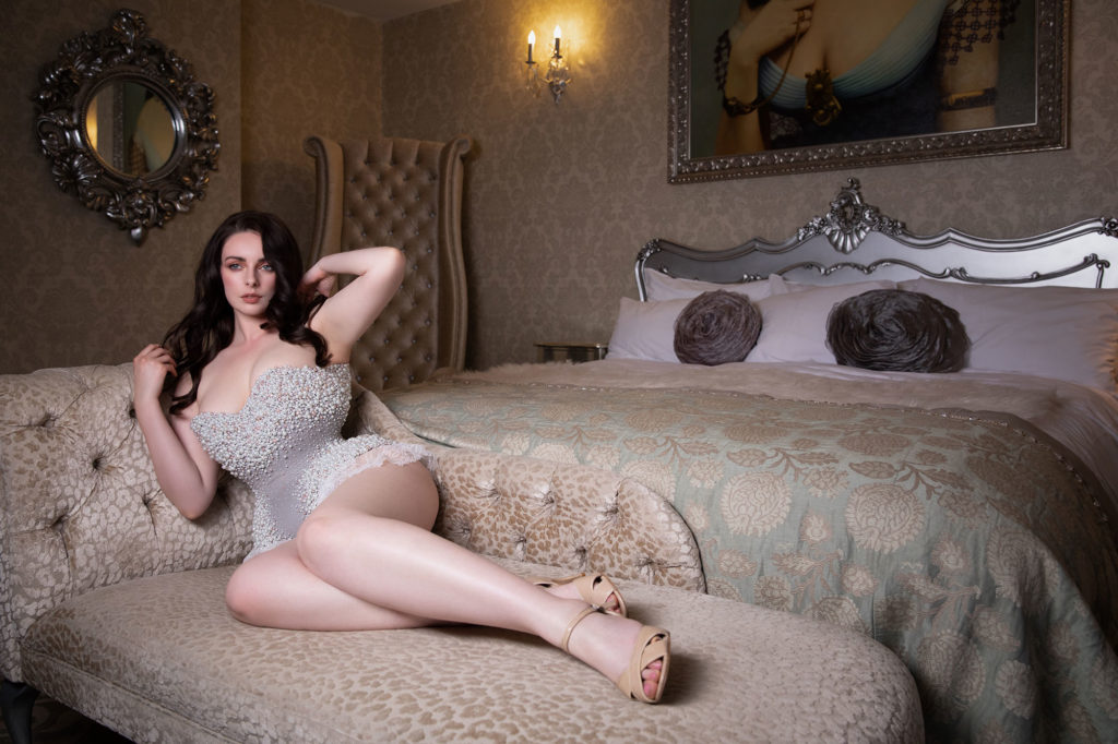Covid-19 : Staying Safe After 'Freedom Day' - Liv Freemen's Poses in Emiah Couture in the boudoir