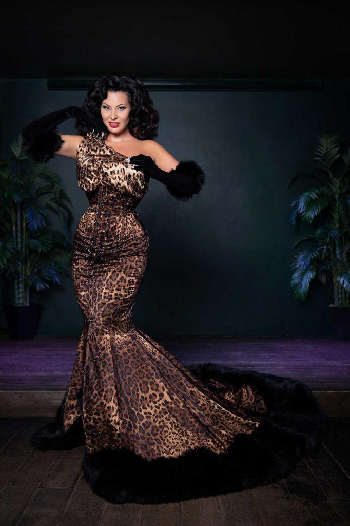 Immodesty Blaize wears Sew Curvy Couture at Fontaine's