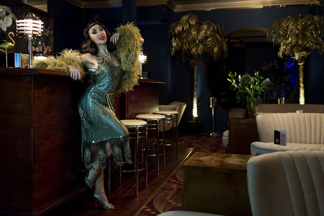 Jolie Papillon The Deco Haus Shoot at Fontaine's, London © Tigz Rice Studios 2016. http://www.tigzrice.com