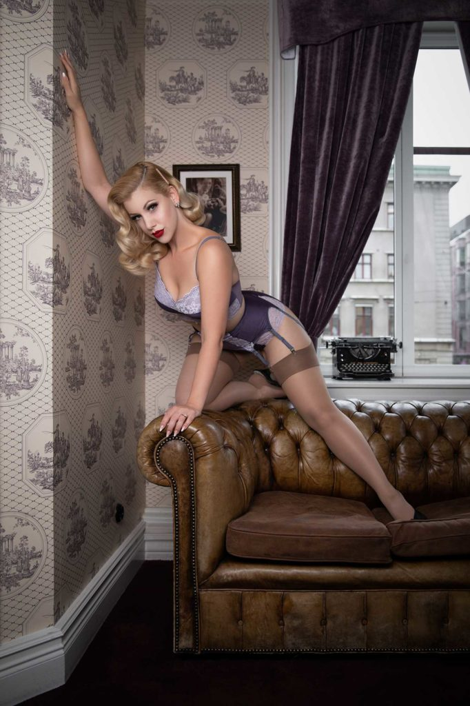 Miss Victory Violet wears Underneath Lingerie at Hotel Pigalle Gothenburg photographer by boudoir photographer Tigz Rice 2019