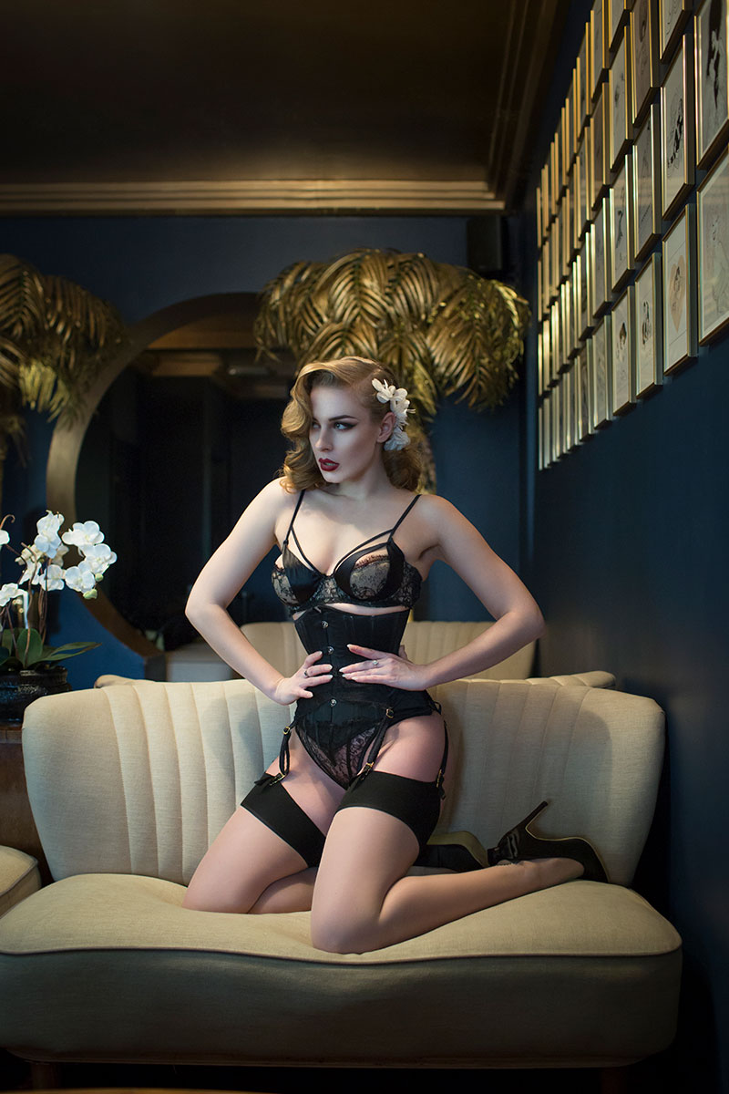 Editorial brand shoot with pin up model blossomandbuttercups, corsetry and lingerie photography