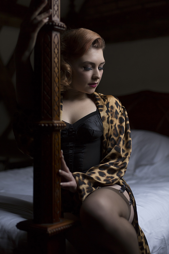 Art of Boudoir Natural Light wearing What Katie Did and Betty Blue's Lounger