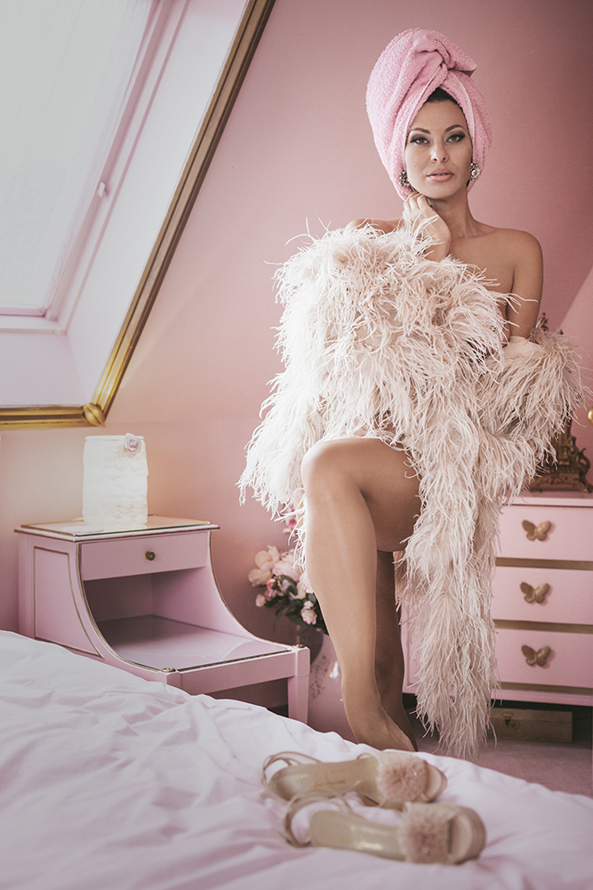 Immodesty Blaize Nude Boudoir in Nipple Tassels and Feather boa | Tigz Rice Studios