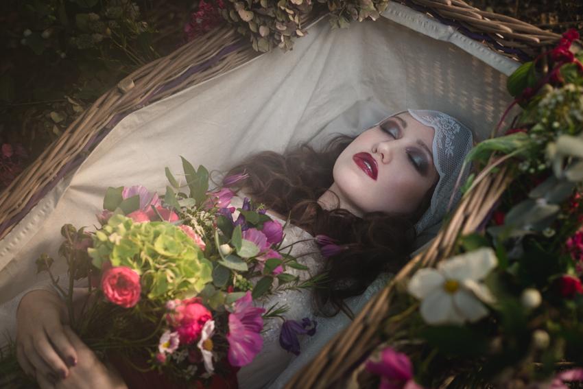 Snow White Fairytale Fashion Couture flowers coffin | Tigz Rice Studios